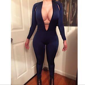 Pants - Navy Blue Sexy Bodycon BodySuit w/ Diamond band